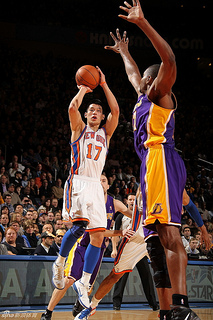 Jeremy Lin puts up a shot in a game against the LA Lakers last year.