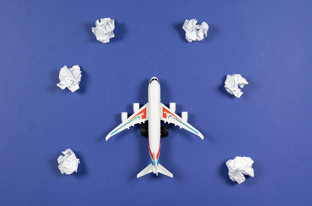 Plane toy on blue sky